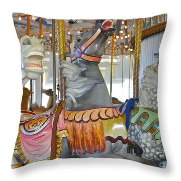 Lighthouse Park Carousel Throw Pillow by Cindy Lee Longhini