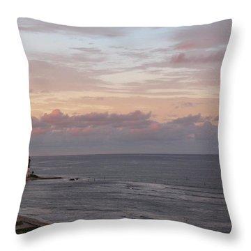 Lighthouse Peach Sunset Throw Pillow