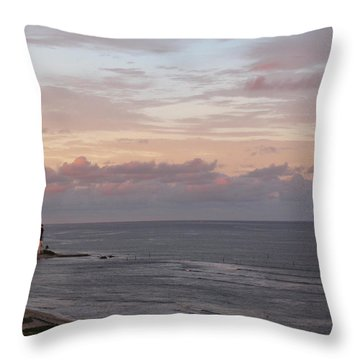 Lighthouse Peach Sunset Throw Pillow