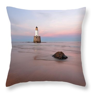 Throw Pillow featuring the photograph Lighthouse Sunset Rattray Head by Grant Glendinning