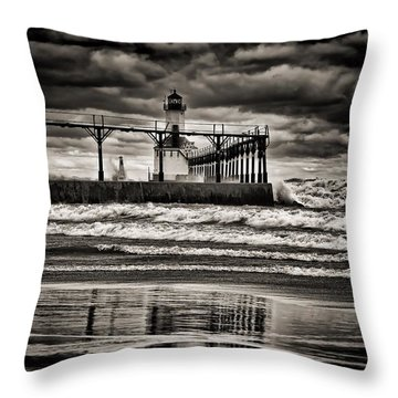 Lighthouse Reflections In Black And White Throw Pillow