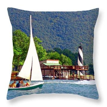 Lighthouse Sailors Smith Mountain Lake Throw Pillow