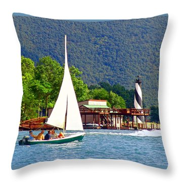 Lighthouse Sailors Smith Mountain Lake Throw Pillow