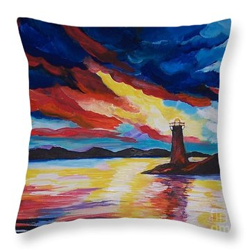 Throw Pillow featuring the painting Lighthouse Storm by Leslie Allen