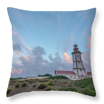 Lighthouse Sunrise At Cape Espichel Throw Pillow