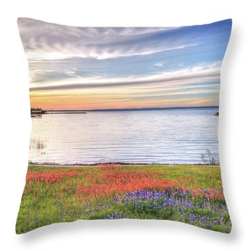 Lighthouse Sunset At Lake Buchanan Throw Pillow