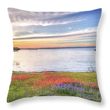 Lighthouse Sunset At Lake Buchanan Throw Pillow