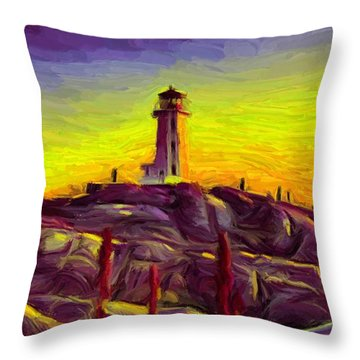 Lighthouse Sunset Throw Pillow by Caito Junqueira