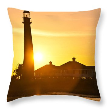 Lighthouse Sunset Throw Pillow