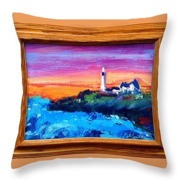 Throw Pillow featuring the painting Lighthouse Sunset by Les Leffingwell