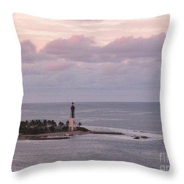 Lighthouse Sunset Peach And Lavender Throw Pillow