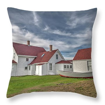 Keepers House At The Monheagn Lighthouse Throw Pillow