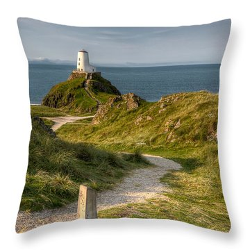 Lighthouse Twr Mawr Throw Pillow by Adrian Evans