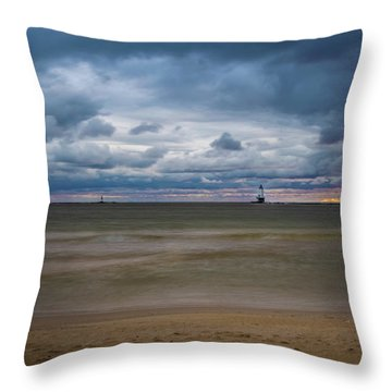 Lighthouse Under Brewing Clouds Throw Pillow