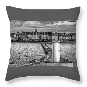Throw Pillow featuring the photograph Lighthouse Walkway by Elf Evans