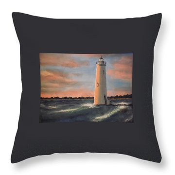 Lighthouse Waves Throw Pillow