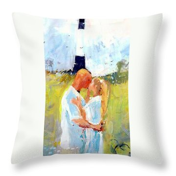 Throw Pillow featuring the painting Lighthouse Wedding by Gertrude Palmer