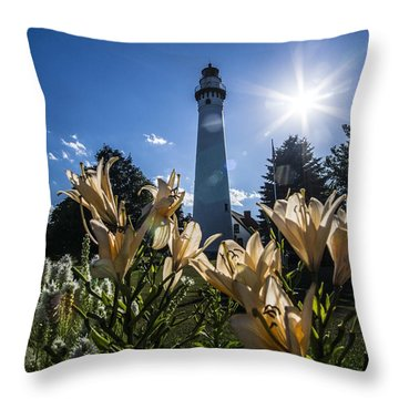 Lighthouse With A Flowery Foreground Throw Pillow