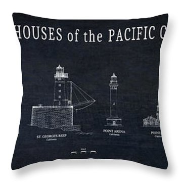 Lighthouses Of The Pacific Coast Blueprint Throw Pillow