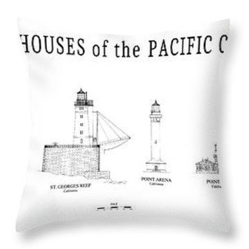 Lighthouses Of The Pacific Coast Throw Pillow