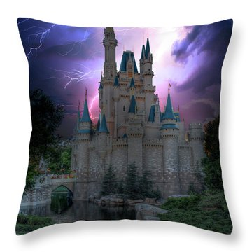 Lighting Over The Castle Throw Pillow