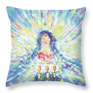 Lighting Shabbot Candles Throw Pillow