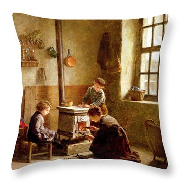 Lighting The Stove Throw Pillow by Pierre Edouard Frere