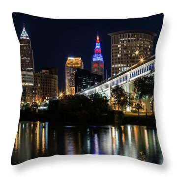 Throw Pillow featuring the photograph Lighting Up Cleveland by Dale Kincaid
