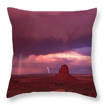 Lightning And Rainbow Throw Pillow