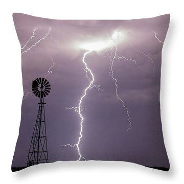 Lightning And Windmill -02 Throw Pillow by Rob Graham