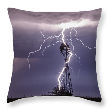 Lightning And Windmill Throw Pillow by Rob Graham