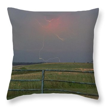 Lightning Bolt On A Scenic Route Throw Pillow