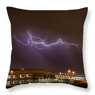 Lightning Bolt Over Suburbs Throw Pillow