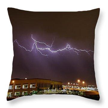 Lightning Bolt Over Suburbs Throw Pillow