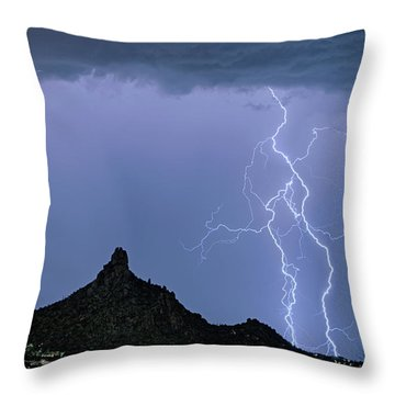 Throw Pillow featuring the photograph Lightning Bolts And Pinnacle Peak North Scottsdale Arizona by James BO Insogna