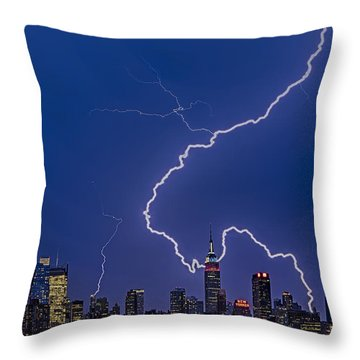 Lightning Bolts Over New York City Throw Pillow by Susan Candelario