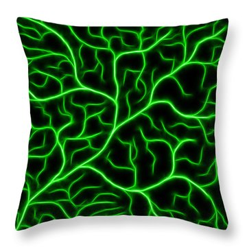 Throw Pillow featuring the digital art Lightning - Green by Shane Bechler