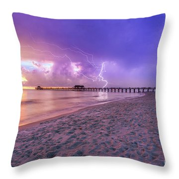 Lightning Naples Pier Throw Pillow
