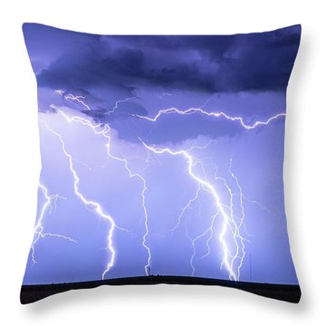 Lightning On The Plains Throw Pillow