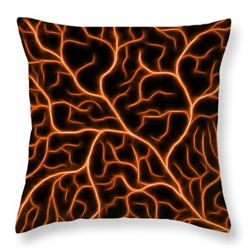 Throw Pillow featuring the digital art Lightning - Orange by Shane Bechler