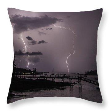 Lightning Over Boothbay Harbor Throw Pillow