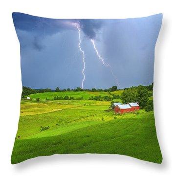 Lightning Storm Over Jenne Farm Throw Pillow