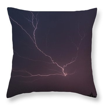 Lightning Over Lake Lanier Throw Pillow