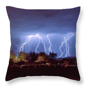 Lightning Over Laveen Throw Pillow
