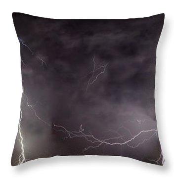 Lightning Over Perris Throw Pillow