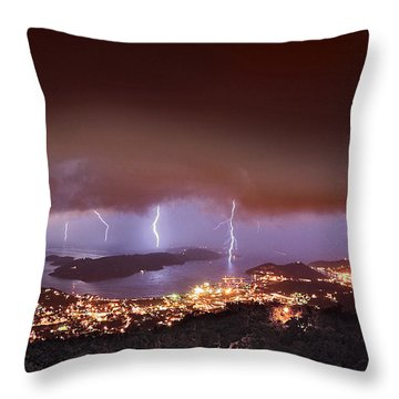Lightning Over Water Island Throw Pillow