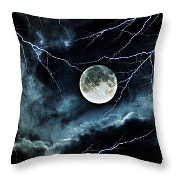 Lightning Sky At Full Moon Throw Pillow