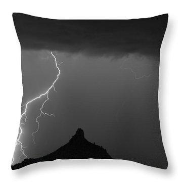 Lightning Storm At Pinnacle Peak Scottsdale Az Bw Throw Pillow by James BO  Insogna