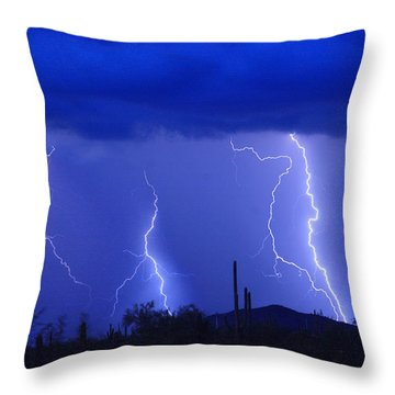 Lightning Storm In The Desert Fine Art Photography Print Throw Pillow by James BO  Insogna