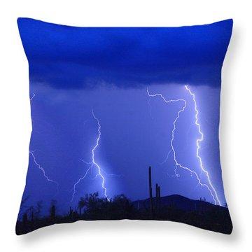 Lightning Storm In The Desert Fine Art Photography Print Throw Pillow